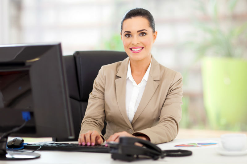 A woman working as a receptionist